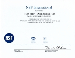 Certificate NSF Int. of WLK Oil Seals Manufacturer, Taiwan